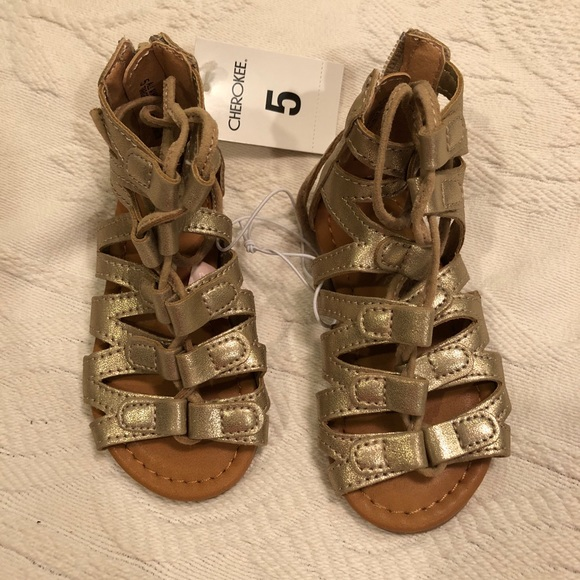 1c0d4bb22de Toddler girls Gold Gladiator Sandals